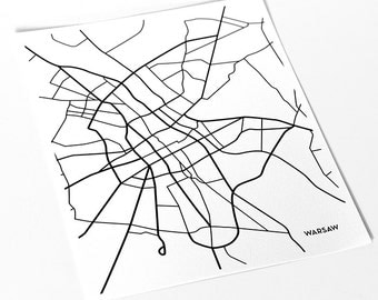 Warsaw City Art Map Print / Poland Map Poster Abstract Art / 8x10 Digital Print / Choose your color