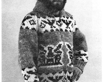 Cowichan Sweater Eagle Design Zip Sweater Knitting PATTERN Instant Download  on Etsy