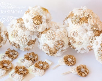 Bridesmaids Brooch bouquet, Ivory and Gold brooch bouquets.