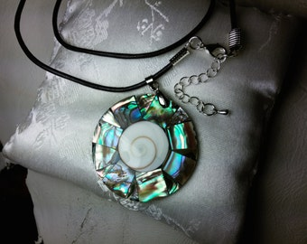 Abalone Shell Mosaic Necklace, 42mm Pendant with Swirl Cut Shell Center, 20inch Dark Blue Leather Cord, 2inch Extension Chain, Lobster Clasp