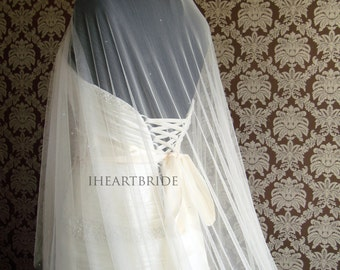 Soft Silk Tulle Circle Drop Veil Scattered with Swarovski Crystals IHeartBride Silk Tulle Collection Bridal Veil with Scattered Swarovski