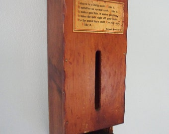 """Wooden Match Box Holder for Smokers, """"I Like It"""" Decal on the Front, Cornwall Products Wall Mounted Match Holder"""
