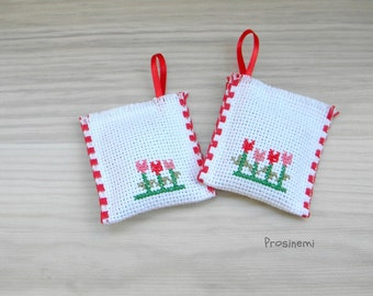 Lavender sachets with red tulips, cross stitch lavender sachet set of two, home decor, spring cleaning, eco friendly