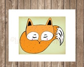 fox print, cute fox  - kids print  - children wall art . baby nursery wall art,girls room picture