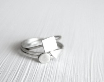 Tiny Rings in Sterling Silver Stackable Geometric -- Set of Three -- by anilani
