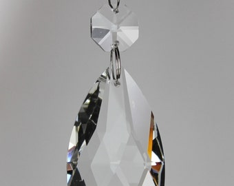 25 Clear Glass Chandelier Teardrop Wedding Crystals Prisms Hanging Drops Lamp Parts with Silver Rings