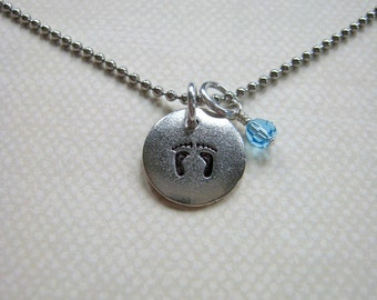 Delicate footprints circle tag with birthstone for infant loss miscarriage memorial mothers