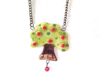 Day in the Park Ceramic Apple Tree Necklace. Vintage Style Brass Chain. Green. Red. Whimsical. Woodland. Outdoor Picnic. Summer. Tree. Cute