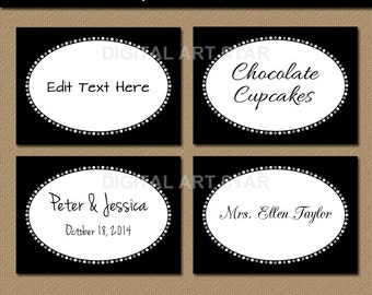 Black and White Buffet Cards - EDITABLE Printable Labels, Tent Cards, Party Labels, Candy Buffet Labels - Bridal, Wedding - INSTANT DOWNLOAD