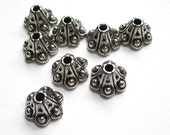 Bali Style Antique Silver Bead Caps 8mm x 6mm - 8 Pieces