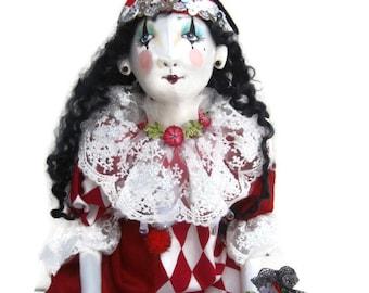 Marie Antoinette Harlequin Pierrot Clown Boudoir art doll Halloween mask Venice carnival mask