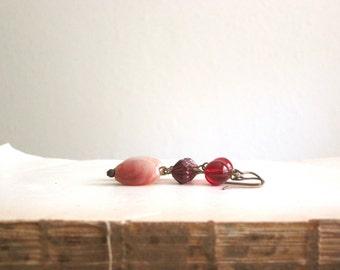 Red Pink Drop Earrings by Nancelpancel on Etsy