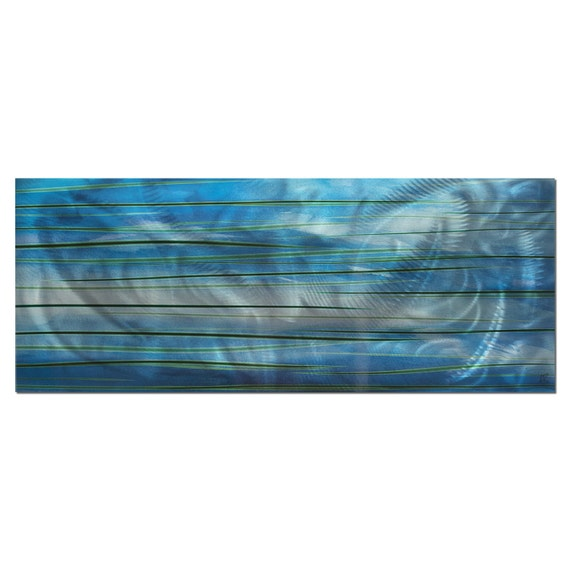 Abstract Blue Painting Ocean View' - Blue Modern Art; Soothing Contemporary Cool Colors Accent; Coastal Oceanic Decor; Blue Metal Wall Art
