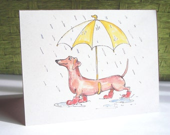 Rainy Day Dachshund Greeting Card - Set of 5