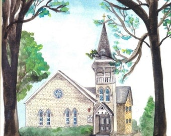 Matted Fine Art Print of Original Watercolor Painting of Walkersville United Methodist Church, Maryland