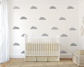 Star Vinyl Wall Decal  Silver Stars Star Wall Decal Art - Nursery wall decals clouds