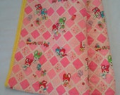 sale * Bright Baby Quilt Blanket made with vintage wool Japanese Kimono fabric - bunny, train and birds