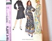 1970s Vintage UNCUT McCalls Pattern 3073 Misses Dress and Slip size 12 bust 34