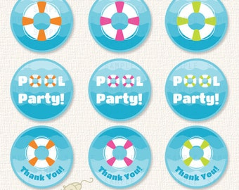 Pool Cupcake Toppers Etsy Uk