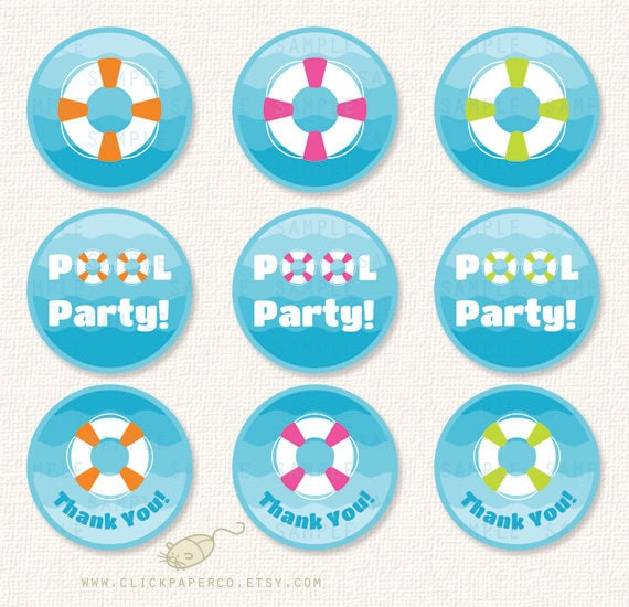 Items Similar To Pool Party, Swim Party, Cupcake Toppers