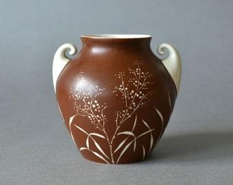 Vintage East German pottery vase porcelain bamboo VEB Lichte Mod Modern Modernist Mid-Century