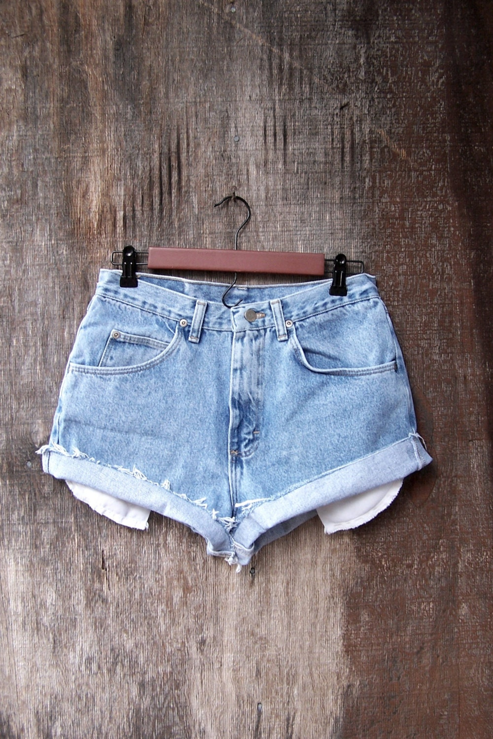 Basic high waisted booty shorts pockets showing upcycled 1990s