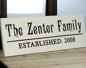 Personalized Family Name Sign Plaque Custom Made 8x22 Solid wood Family sign, wedding or anniversary gift 004