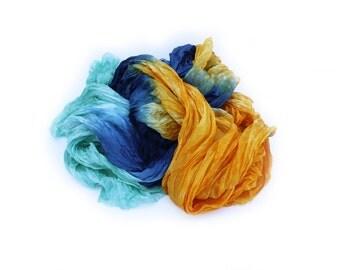 mint silk scarf - Felicity - mint, orange, blue silk ruffled scarf.