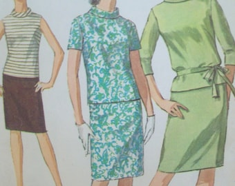 Vintage 1960s Two Piece Dress Pattern Simplicity 7164 Jiffy Pattern Size 14