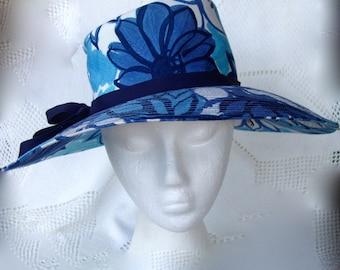 groovy 60s floral hat . blue flowers . mod . vintage