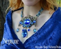Bridal Necklace, Statement, Blue Rhinestones, Bronze Escutcheon, Chandelier Crystals. By Alchemy Divine Couture