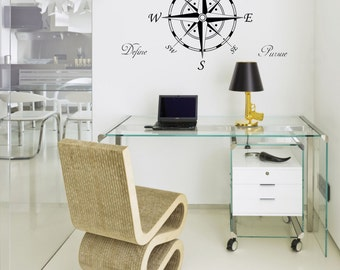 Wall Art - Nautical Compass rose windrose plus Explore Experience Pursue Define words vinyl wall decal / sticker (ID: 171020)