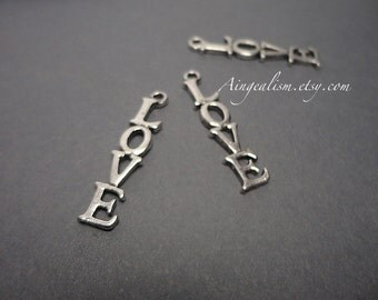 4 Love Charms in Silver Word Charm, Love Pendant - CH0034