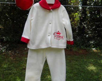 "Vintage ""Princess"" Little / Toddler Girls Winter White and Red Three Piece Outfit"