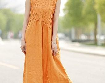 Maxi Dress Unique Sundress in Orange Summer Long Dress C353