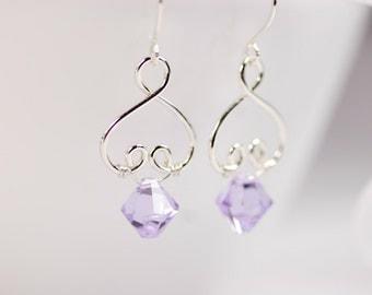 Lavender Swarovski Earrings Wire Wrapped Jewelry Handmade Sterling Silver Jewelry Handmade Swarovski Crystal Earrings Swarovski Jewelry