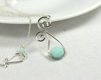 Mint Green Necklace Wire Wrapped Jewelry Handmade Sterling Silver Jewelry Handmade Swarovski Crystal Necklace Swarovski Crystal Jewelry