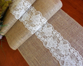 EXTRA LONG Burlap table runner wedding table runner bridal shower rustic wedding table decoration burlap lace table topper
