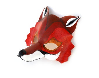 Red Fox Mask Animal Leather Mask Costume Party Forest Carnival Mardi Gras Masquerade Halloween Circus Earth Day Gift for children adults