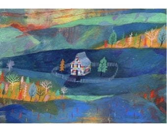 The House in the hollow Illustration A3 art Print (16.5 x 11.7 in)