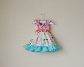 Balloon Flutter Sleeve Party Dress or Choose your own fabrics- Sizes 6m, 12m, 18m, 2, 3, 4, 5, 6, 7, 8, 9, 10