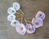 Set Of 5 Organza Flower Bobby Pins in Champagne Wedding Flowers Bridal Wedding Party Flowers