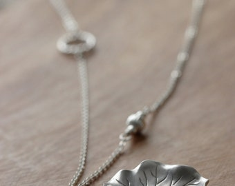 Lotus Leaf Sterling Silver Necklace, Silver Leaf Pendant, Lotus Leaf Necklace, Yoga Jewelry, Asymmetric