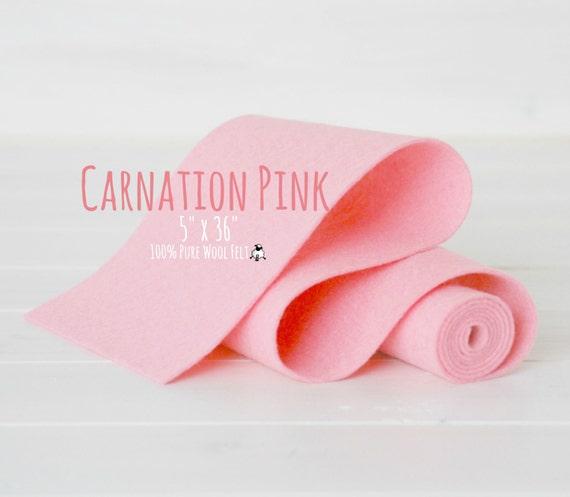 """100% Merino Wool Felt Roll - 5"""" x 36"""" Wool Felt Roll - Wool Felt Color Carnation Pink-4110 - Pink Wool Felt - Pink Color Wool Felt Fabric"""