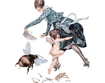 Bee Chases Cupid Fabric Block | La Vie Parisienne - Herouard