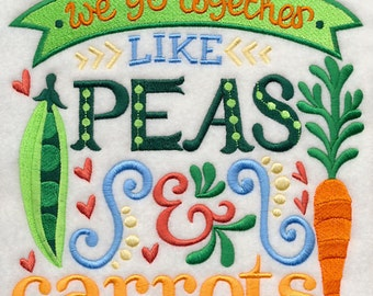 Go Together Like Peas & Carrots Embroidered on Made-to-Order Pillow Cover