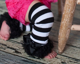 Black stripe Leg Warmers Baby Outfit  leggings pants with tulle ruffles