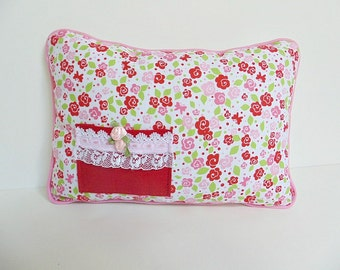 Red and Pink Rosebud Tooth Fairy Pillow , Personalized Girls Pillow , Girls Pink Pillow