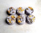 Lemon Lavender Mini Bath Melt Truffles - 6 Natural Mini Bath Melts with Lemon and Lavender Essential Oil, Shea & Cocoa Butter