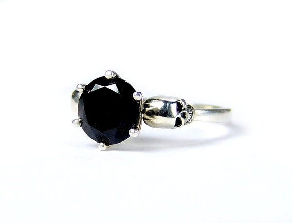 Womans Skull Ring Size 6.75 READY TO SHIP Sterling Skull Engagement Ring Black Spinel Goth Jewel Ring Bone Black Gem Memento Psychobilly